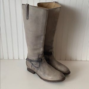 Frye tall grey distressed leather boots